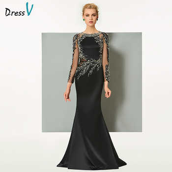 Dressv black long evening dress elegant scoop neck sweep train long sleeveless wedding party formal dress sheath evening dresses - DISCOUNT ITEM  28% OFF All Category