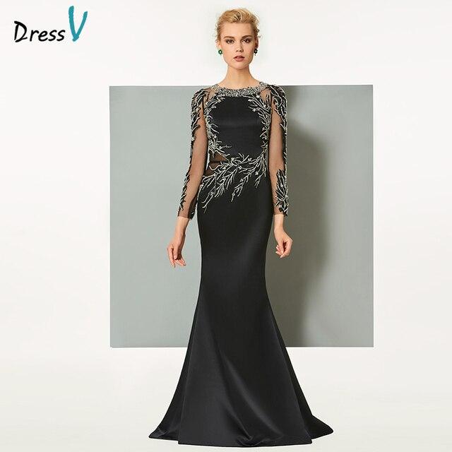 Dressv black long evening dress elegant scoop neck sweep train long sleeveless wedding party formal dress sheath evening dresses