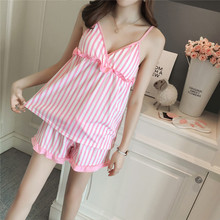2019 new summer pajamas for women strap stripes with chest pad cotton suit lingerie mujer pajama set pink girls pijama