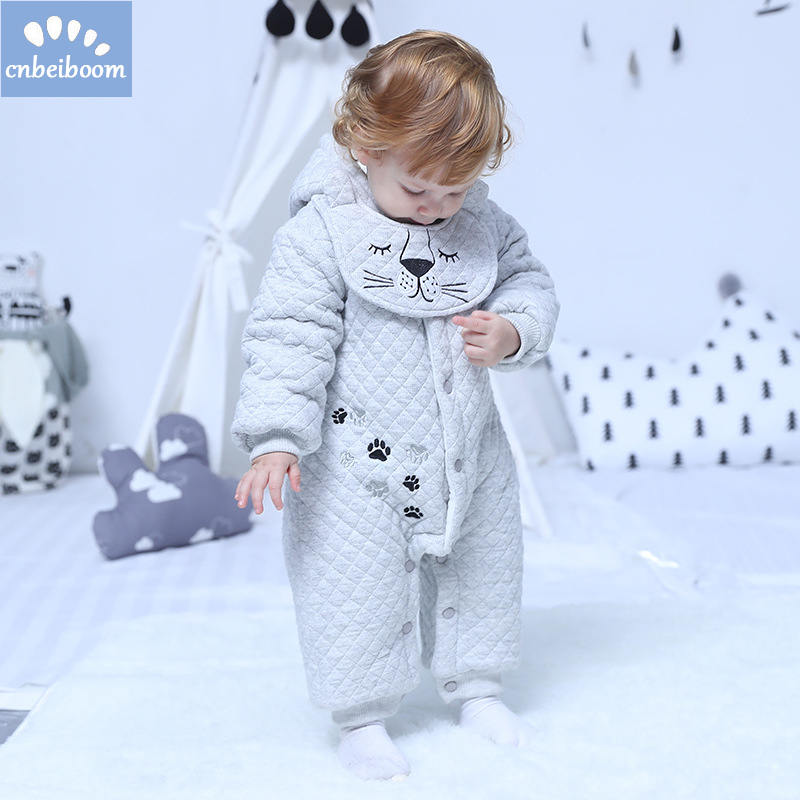 Winter Thick romper Christmas Baby Boy girls Clothes Newborn Warm Rompers + bib Infant jumpsuit Outerwear 2018 Gifts Clothing unisex baby rompers newborn baby clothes boy girls winter jumpsuit hooded toddler outerwear christmas clothing deer costume