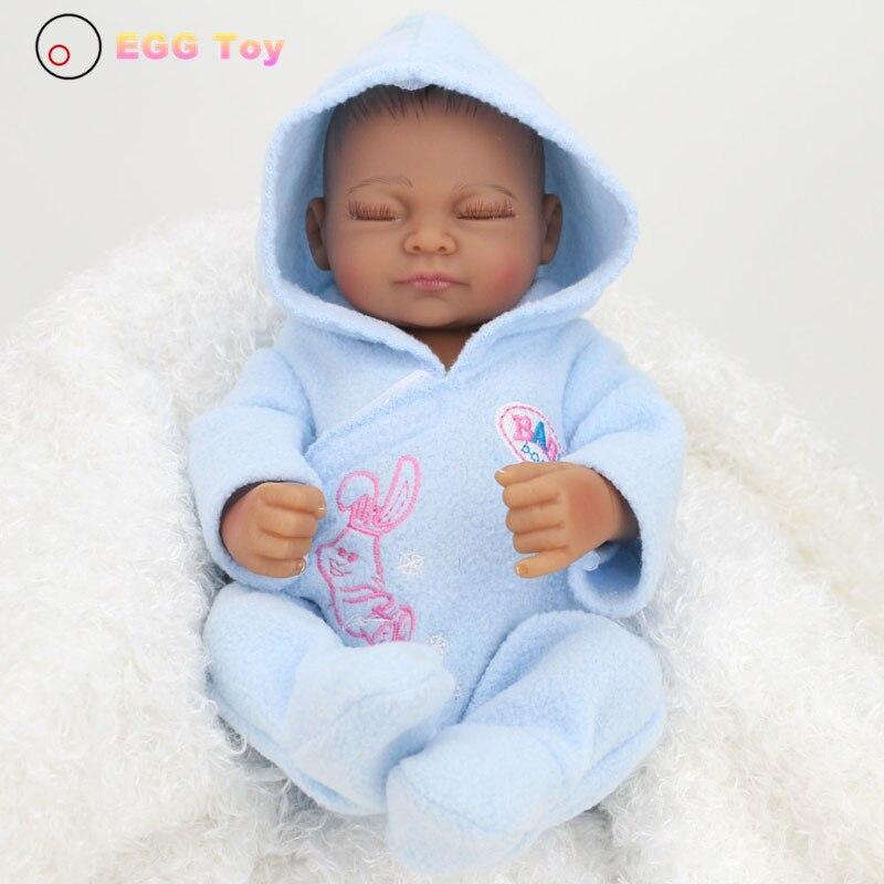 ФОТО Black Full body Silicone Reborn Baby Doll Toys 28cm Sleeping Lifelike Baby Girls Doll Play House toy Reborn Doll Educational toy