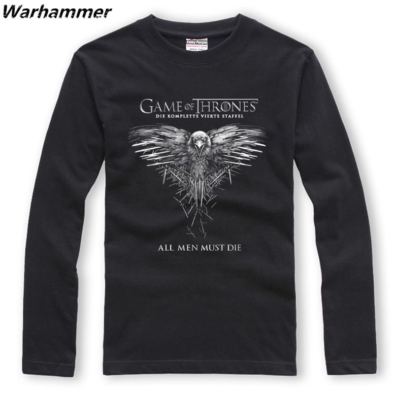 T-shirt Warhammer Game Of Thrones manches longues col rond coton XXL imprimé tous les hommes doivent mourir T-shirt Homme EU grande taille automne t-shirts