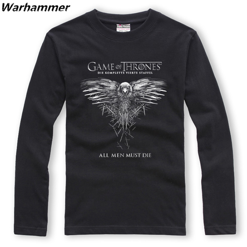 Warhammer Game Of Thrones T-shirt Long Sleeved O-neck Cotton XXL Print All Men Must Die Tee Shirt Homme EU Big Size Autumn Tees