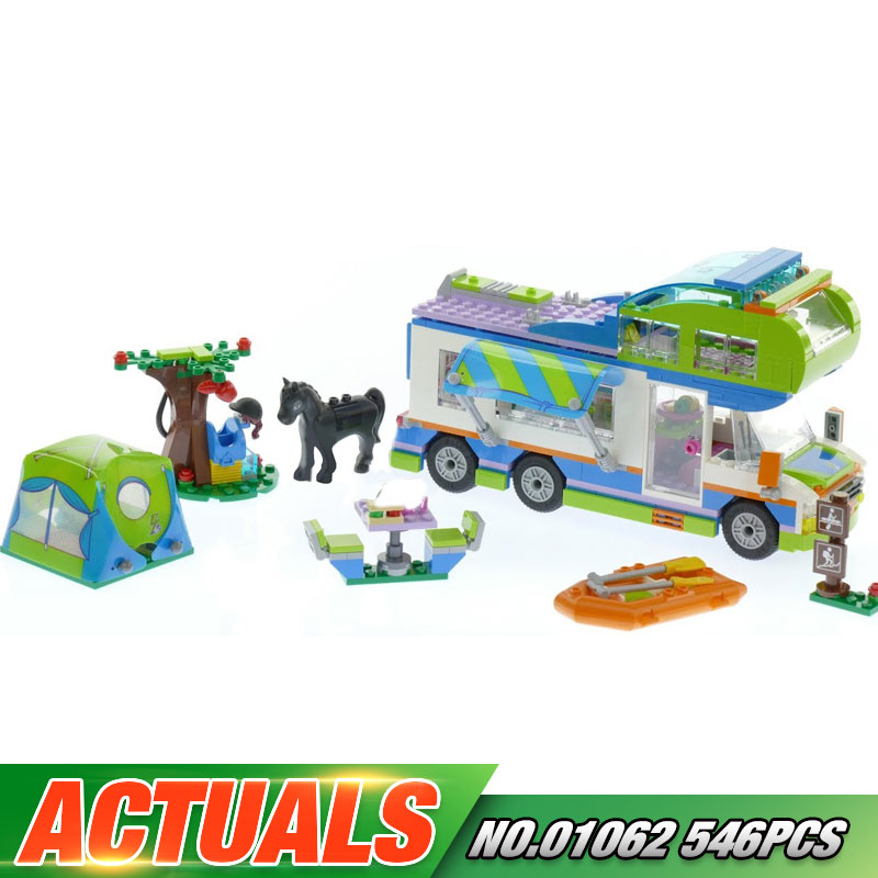 Lepin 01062 New Girl Toys 546Pcs Girls Series The Camper Van Set 41339 Building Blocks Bricks Funny Toys As Kids Birthday Gifts new lepin 20054 4237pcs creator camper van model building kits bricks toys compatible gifts 10220