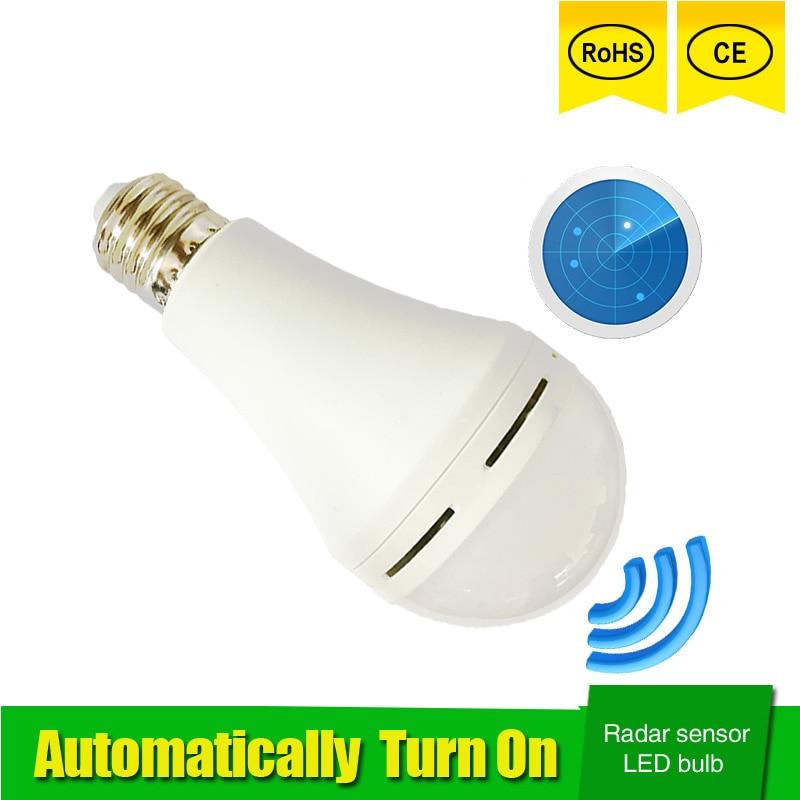где купить Radar Motion Sensor Led Lamp Bulb E27 5W 7W 9W 110V 220V 85-265V automatic Smart Detection Led Infrared Body Motion Sensor Light по лучшей цене