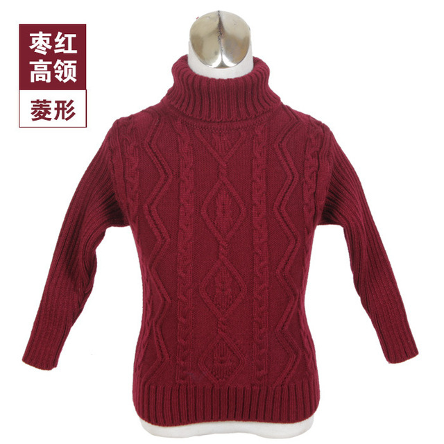 2016 Autumn Winter Pullover Full Sleeve Turtleneck Sweater for Girls Knitted Warm Sweaters Unisex Christmas Children's Clothing