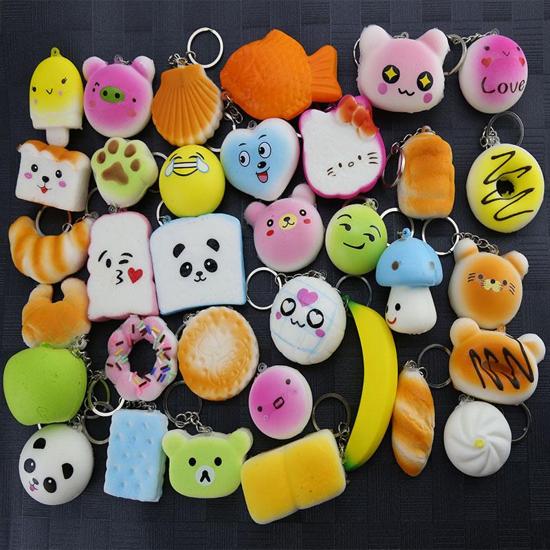 Hot Kawai 5 Pcs/lot Mobile Phone Straps Squishy Cute Soft Panda/Bread/Donut Phone Keychain For Phone Decor Break Cake Toys
