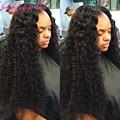 Grado superior de Seda Top pelucas Llenas Del Cordón Rizado 100% real virgen del pelo humano 150 densidad pelucas Delanteras Del Cordón con natural rayita
