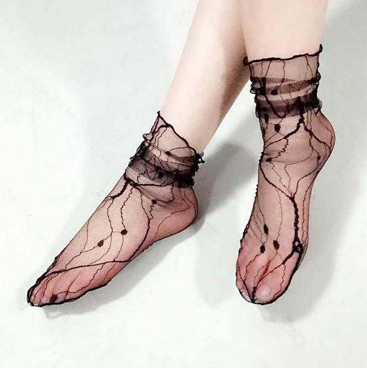 Glitter Mesh Women Socks fishnet Socks Net Yarn Female Socks Shiny Harajuku Soft Ladies Funny Socks