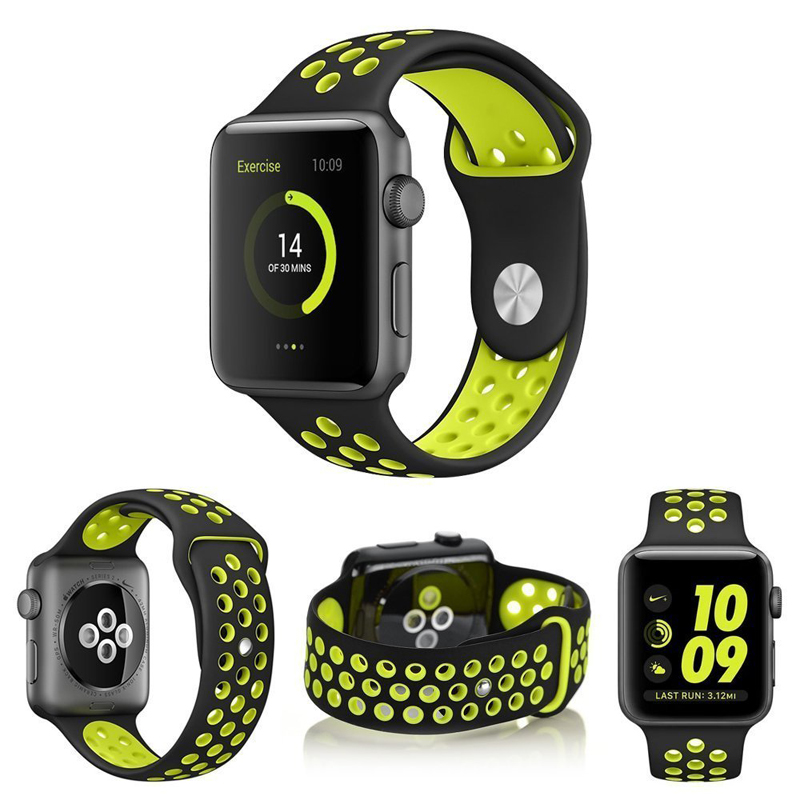 Colorful Soft Silicone Sport Band For 38mm Apple Watch Series3 2 42mm Wrist Bracelet Strap For iWatch Sports Edition Replacement silicone replacement wrist band strap bracelet for polar v800 sport smart watch t50p drop ship