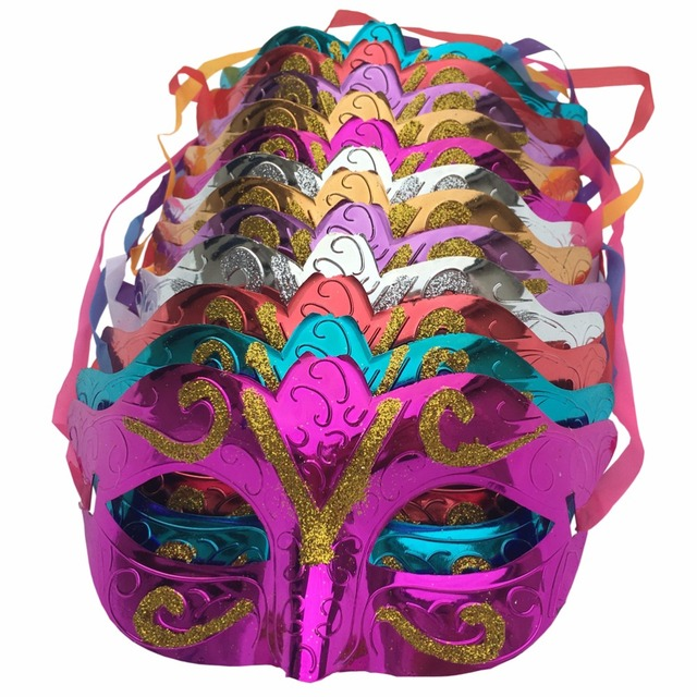 12 pcs/lot, Gold shining plated party mask wedding props masquerade mardi gras mask mascaras venecianas para fiestas fx196