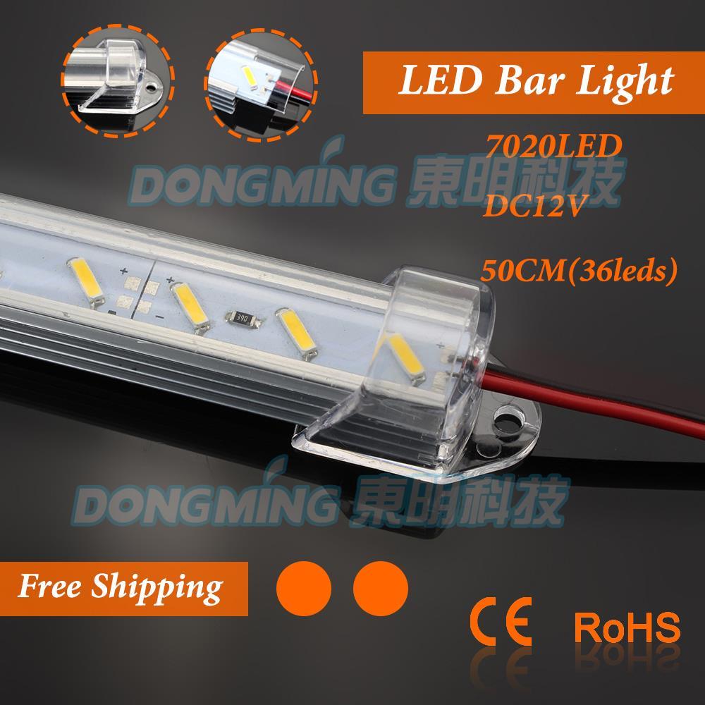 6pcs* 50cm led luces bar hard strip tube 12V DC 7020 U Aluminium profile kitchen under cabinet cupboard led bar light warm white