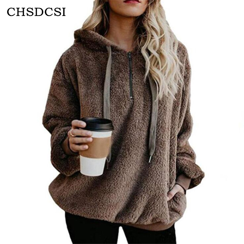 CHSDCSI Winter Velvet Tops Women   Jackets   Hooded   Basic     Jackets   Female Zipper Double-sided Ladies White Coffee Knitted Coats S-5XL