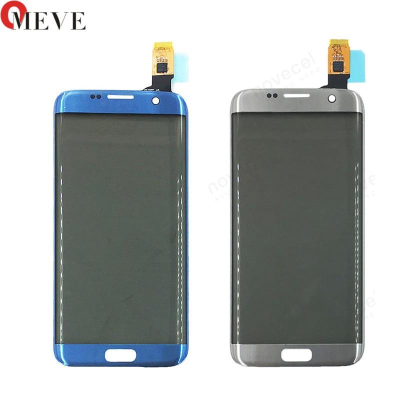 Original 5.5 G935F Frente de Vidro + painel de Toque + Filme Polarizador da Borda da Tela de Toque Digitador Assembléia Para Samsung S7 substituição