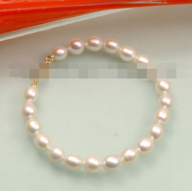 Hot sell Noble- FREE SHIPPING>>>@@ 0994 White Fresh Water cultured Pearl Bracelet image