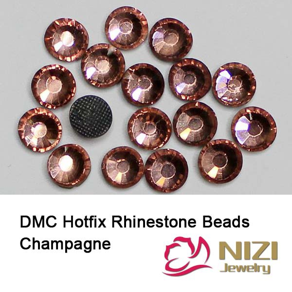 Hot Sell DMC Hotfix Rhinestones Champagne Round Glass Strass For Garment Accessories New Flatback Hotfix Rhinestones Many Sizes aaaa quality rainbow dmc flatback crystals hot fix rhinestones garment accessories gray glue ss6 ss8 ss10 ss16 ss20 ss30