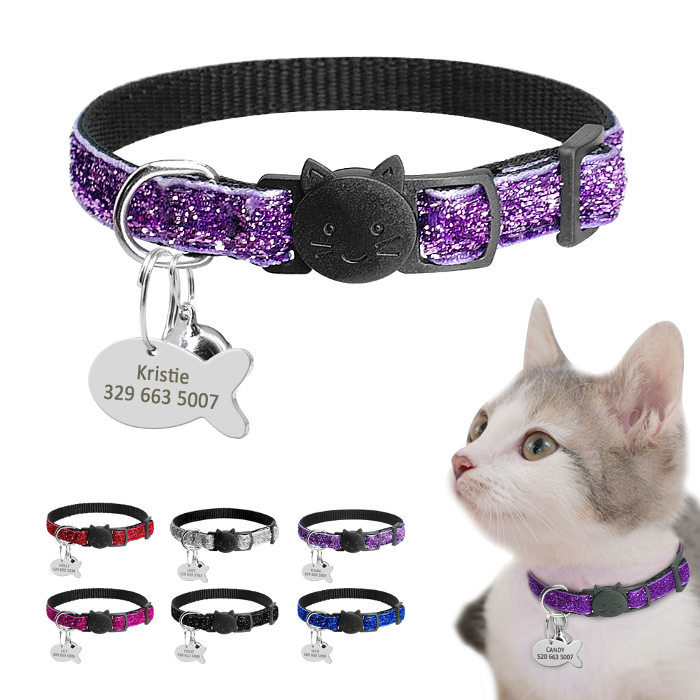 Quick Release Cat Puppy Tag Collar Set Gorgeous Personalized Nylon Kitten Collars Engraved For Small Pets Kitten 1cm Width
