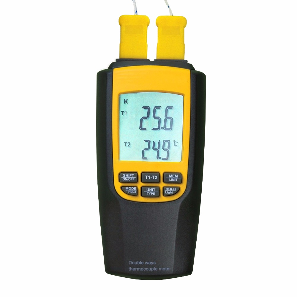 Handheld Digital LCD Display K / J Type Thermocouple Thermometer 4 Probes Selectable degree C /degree F mastech ms6514 dual channel digital thermometer temperature logger tester usb interface 1000 set data k j t e r s n thermocouple