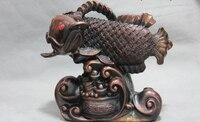 Song voge edelstein S0967 China Kupfer Bronze Hause Feng Shui Geld Wealth Drache Koi Fisch Schatz schüssel-in Statuen & Skulpturen aus Heim und Garten bei
