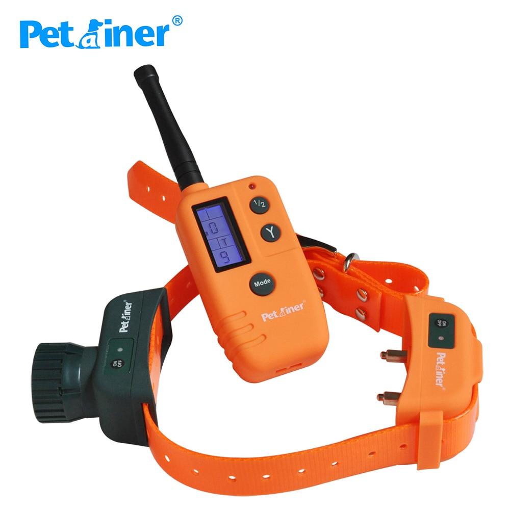 Petrainer 910 500 M 9 poziom wyświetlacz LCD pilot wodoodporna i akumulator elektryczny zwierzęta produkty do szkolenia psów wstrząsy wibracje kołnierz w Obroże treningowe od Dom i ogród na  Grupa 1