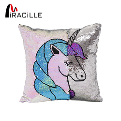 Miracille Reversible Sequins Cartoon Unicorn Pattern Throw Pillow Case Home Sofa Decorative Cushion Covers 16