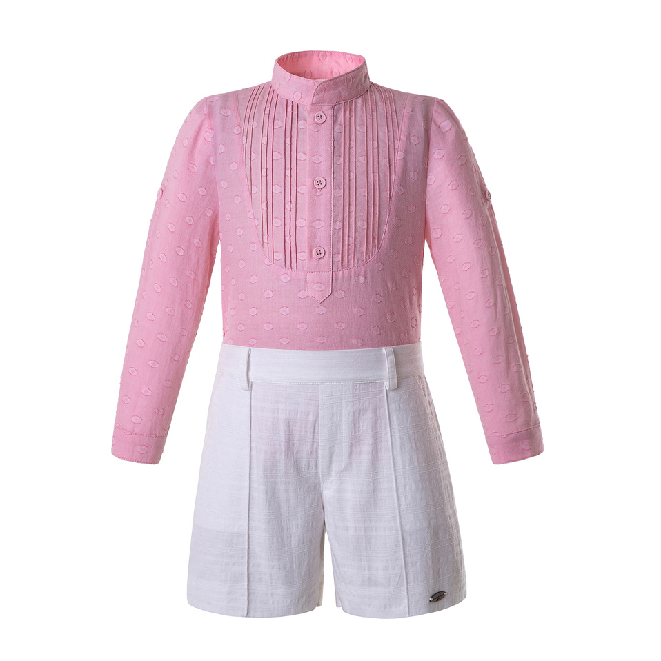 Pettigirl Kids Clothing Set For Boys Pink Tops With White Shorts Children Wholesale Clothing Dropshipping B