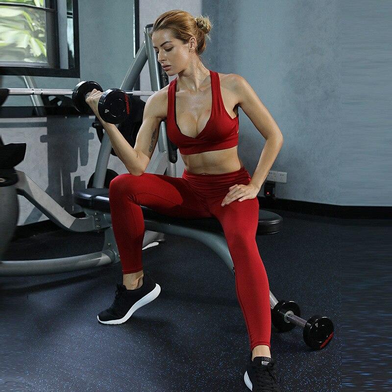 c67a6d6e0 Detalle Comentarios Preguntas sobre GXQIL 2018 conjunto de deporte Mujer  ropa deportiva gimnasio traje de Yoga femenino ropa de ajuste seco  ejercicio ropa ...