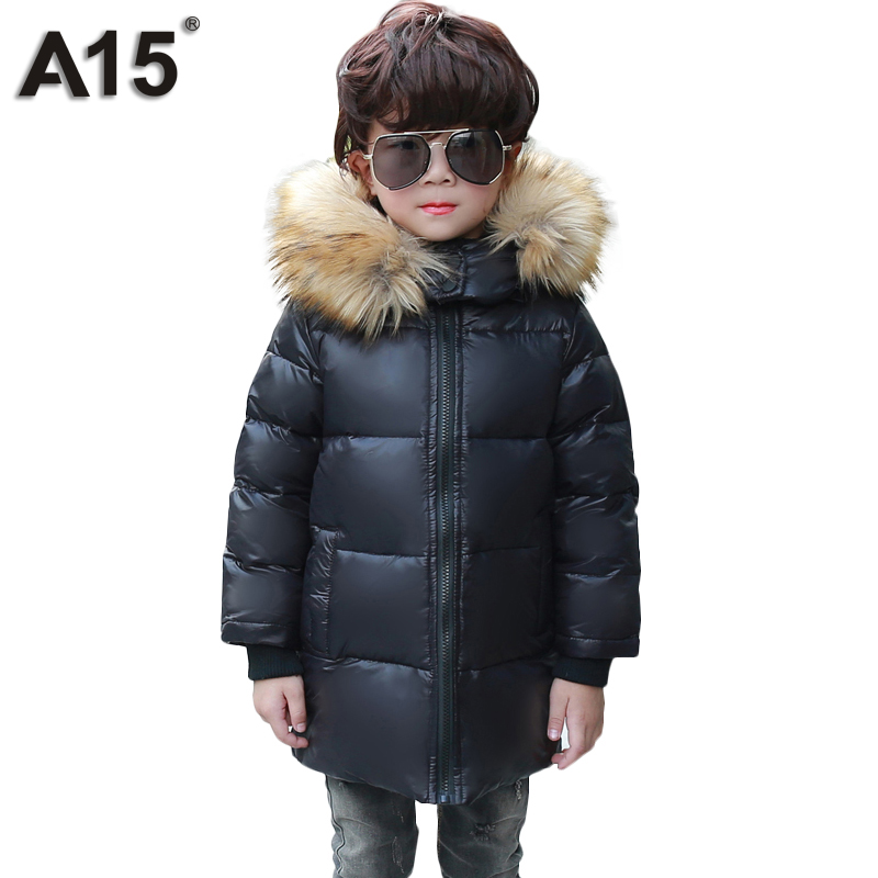 A15 Brand Winter Jackets Girls Kids with Fur Baby Boys Big Fur Hooded Down Coats Kids Warm Light Duck Down Jacket Childen Parkas duck down jacket for boys 2017 russia winter warm thick down parkas children casual fur hooded jackets coats 30 degrees