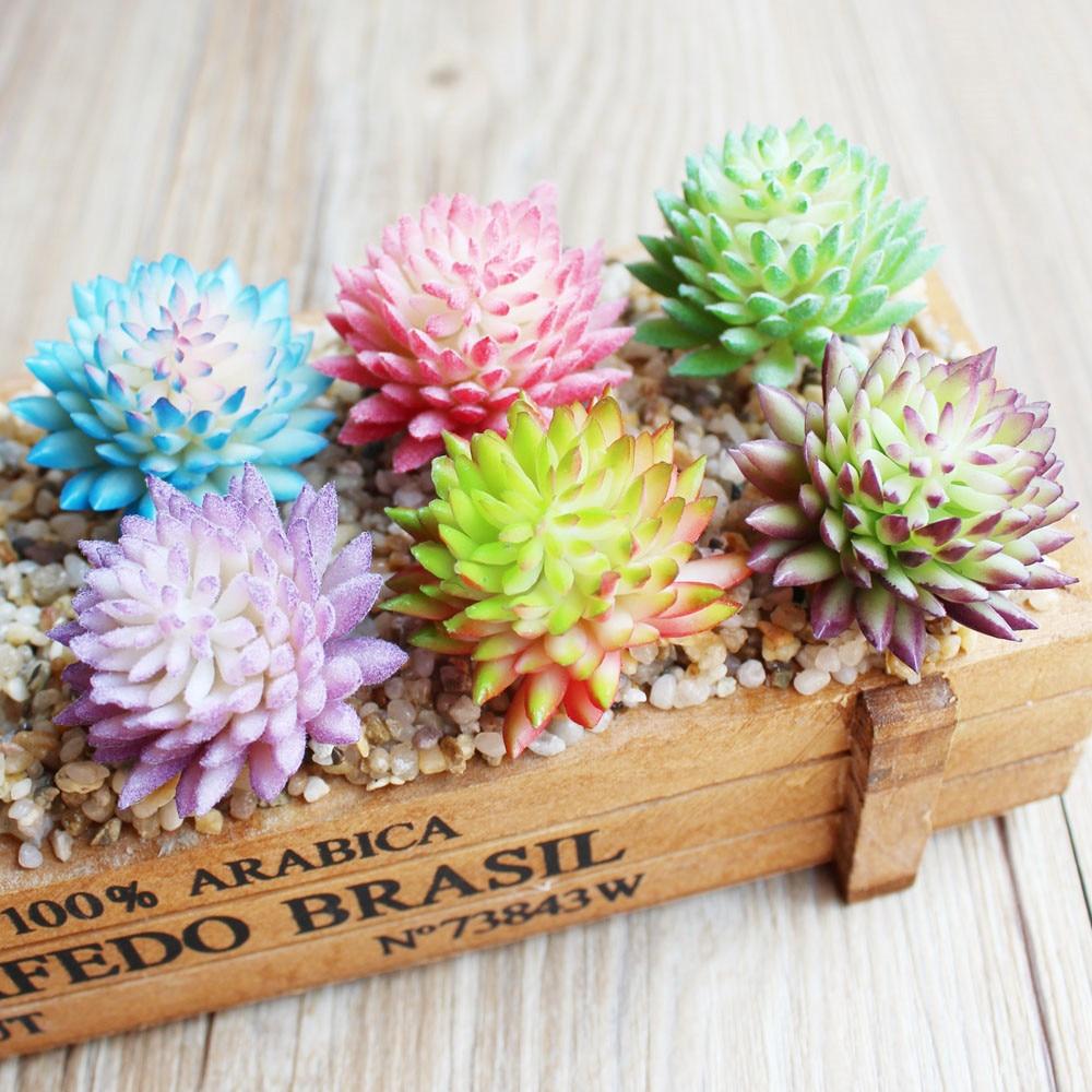 Piante Grasse Da Giardino 1 pcs artificiale di piante grasse falso fiore della decorazione della casa  pvc pianta da giardino in miniatura aloe cactus fai da te a casa