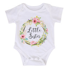 Baby Kid Girl Little Big Sister letter floral print Cotton Clothes Jumpsuit Romper Outfits(China)
