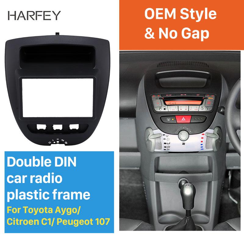 Clearance Harfey 2Din Car Radio Fascia Frame Panel For Toyota Aygo Citroen C1 Peugeot 107 Trim Dash CD Installation Kit Trim Kit
