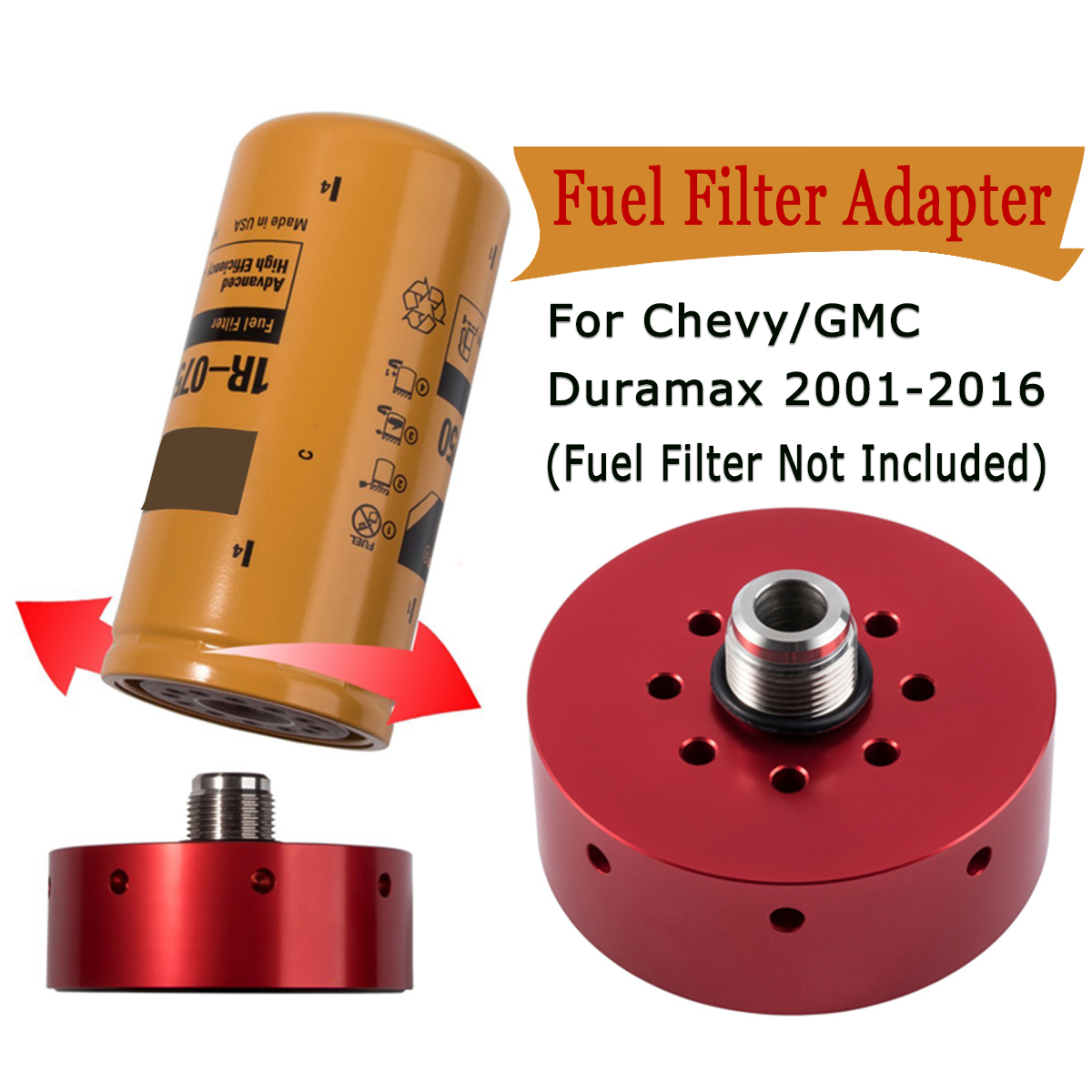 red fuel filter adapter fits for chevy duramax lb7 lly lbz lmm lml 2001 2016 accessories [ 1200 x 1200 Pixel ]
