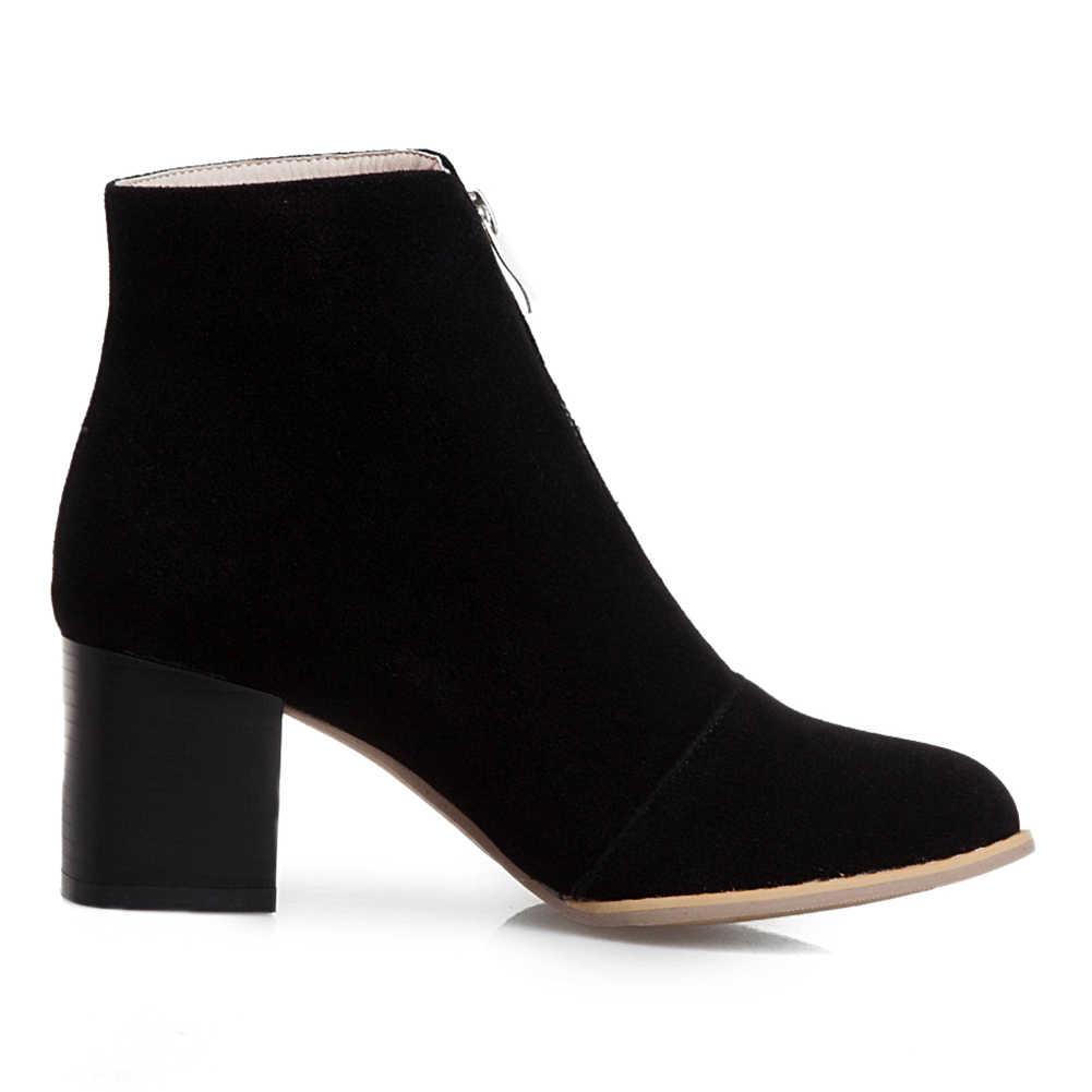 2019 BÜYÜK Boy 34-50 yüksek kaliteli Akın kare Topuklu Sonbahar çizmeler kadın ayakkabıları Zip Up eğlence zarif Ayakkabı Kadın Botları kadın