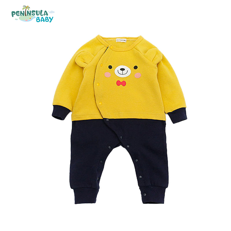 Newborn Baby Boy Girl Rompers Clothes Cartoon Bear And Rabbit Long Sleeve Single Breasted One-Piece Infant Product Jumpsuits cartoon fox baby rompers pajamas newborn baby clothes infant cotton long sleeve jumpsuits boy girl warm autumn clothes wear