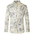 2016 Homens Camisa de Manga Longa Estilo Britânico Masculino Nova Primavera Outono Mens Floral Impressão Camisas de Algodão Dos Homens Casual Slim Fit Camisas Top