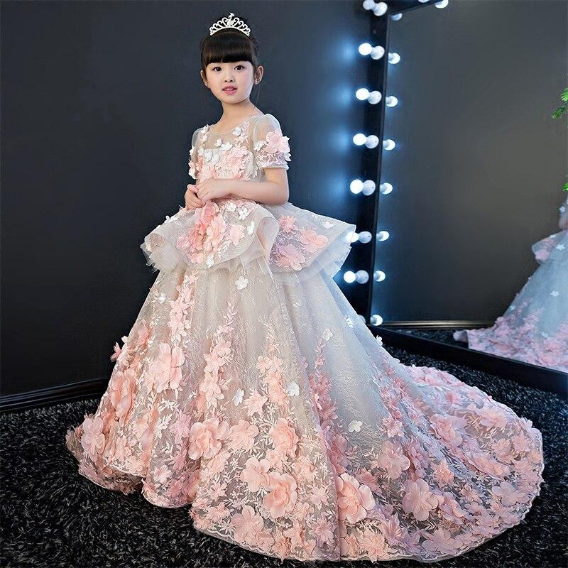 Нарядные платья для девочек 2017 г. элегантные летние шорты рукавом цветок длинный хвост платье принцессы для девочек Детская Дети Свадьба Де...