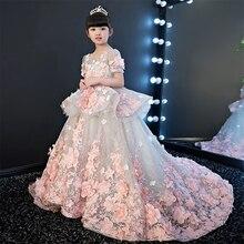 Girls Party Dresses Elegant 2017 Summer Short sleeve flower long tail princess girl dress children kids wedding birthday dresses
