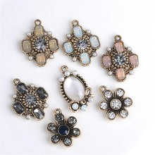 10pcs/lot Reco Gold Disk Metal Decorative Buttons DIY Hair Accessories Headwear Handmade Artificial Diamond Jewelry Snap