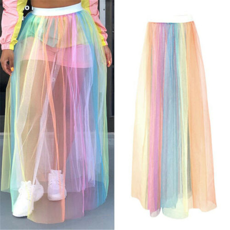 Colorful Beach Maxi Skirt 2019 Summer Sexy Ladies Tulle Skirt Women Long Floor Length Rainbow Tutu Skirt Women Beach Cover Ups