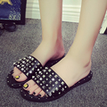 2016 Summer EU US New Fashion Female Black White Grey Rivet Shoes High Quality PU Simple Sandals Rhinestone Sexy Slippers Slides