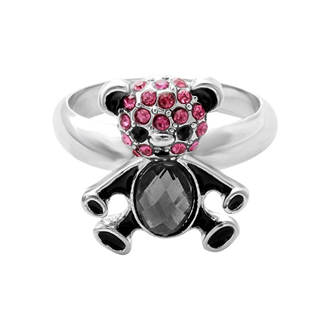 2016 New Style Design The Beautiful Fashion Rhodium Plated Wedding Ring Bear on Finger Crystal For Women Design Christmas Gift