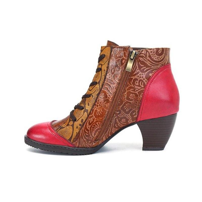 Size À Bottes Style Cheville En Bota Relief Espagnol Mid Hauts Talons Cuir Red De Chaussons Femmes Main talon Feminina Plus Mode TKcu1J53lF