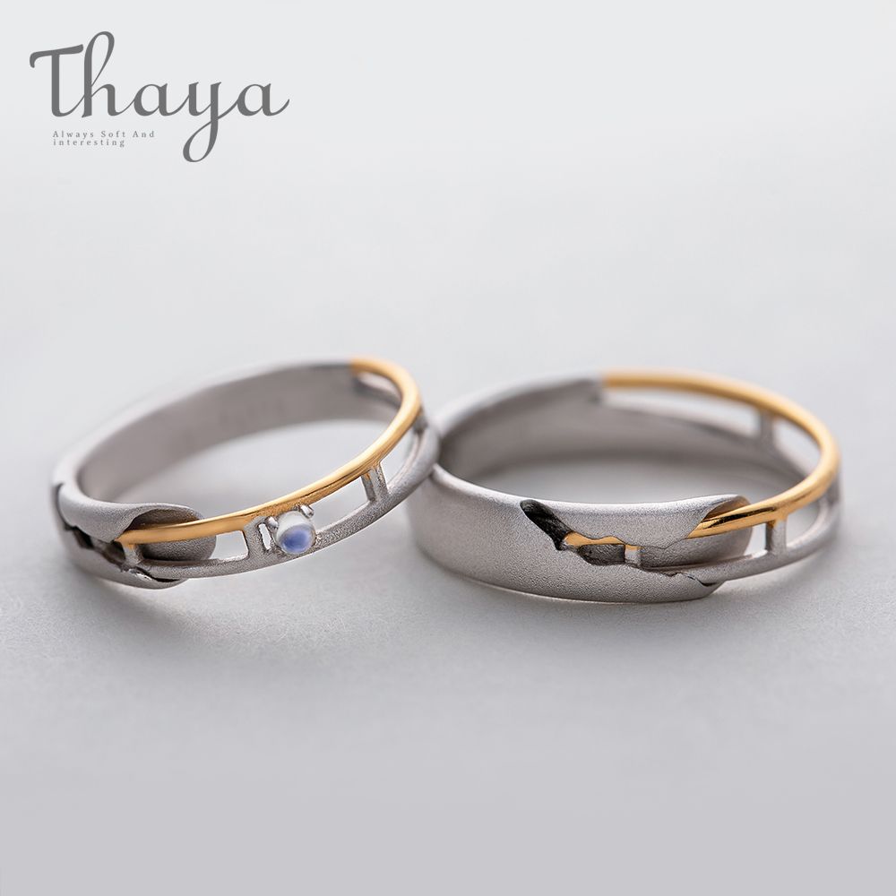 Thaya Train Rail Design Moonstone Lover Rings Gold and Hollow 925 Silver Eleglant Jewelry for Women Gemstone Sweet GiftThaya Train Rail Design Moonstone Lover Rings Gold and Hollow 925 Silver Eleglant Jewelry for Women Gemstone Sweet Gift
