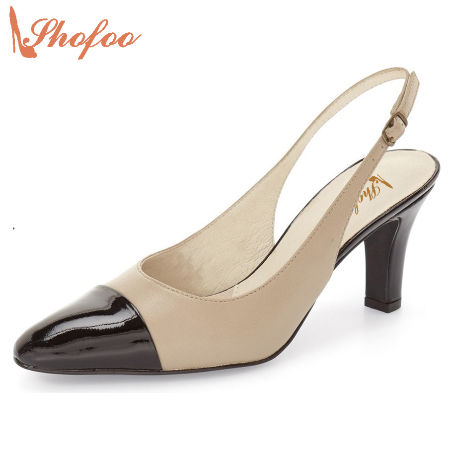 Shofoo Sexy Mules White Khaki Pointed Toe High Thick Heels Slingbacks Pumps Shoes Summer Dress Woman Wedding Party Shoe 33 47  shofoo newest women shoes med heels pointed toe pumps for woman dress