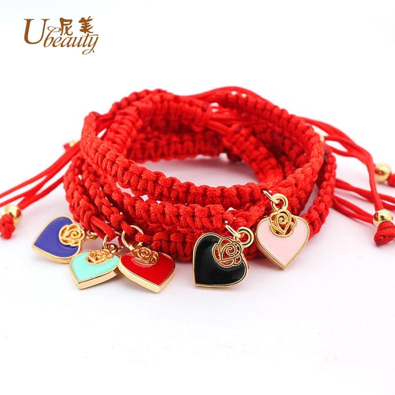 Fashion Heart Charms Love Bracelet for Women Handmade Weave Red Rope Pink Black Purple Charm Bracelets Wholesale