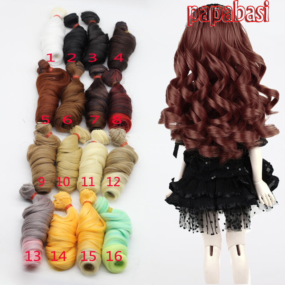 1piece 15cm big thickness curly wigs brown golden green blue black khaki red blue natural color 1/3 1/4 1/6 BJD Doll diy hair