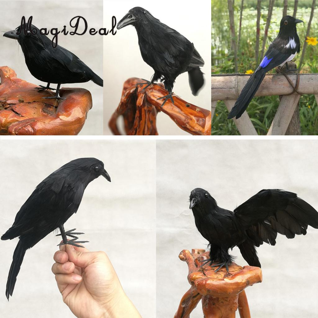 Vívido falso pássaros artificiais raven magpie para café bar pub decoração para casa