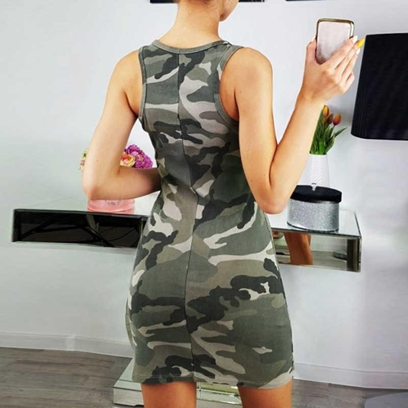 667e372dcbd ... LASPERAL Sexy Sleeveless Camouflage Summer Dress Women Printed O-Neck  Slim Bodycon Dresses Fashion Ladies ...