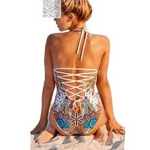 Halter Sexy One Piece Swimwear Women Plus Size One-Piece Swimsuit Bikini Bandage Swimwear Female Vintage Bathing Suit