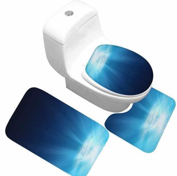 CAMMITEVER 3 ピース/セットサメ海パターントイレ風呂マットノンスリップ浴室マットトイレラグカバー